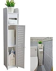 Small Bathroom Storage Corner Floor Cabinet with Doors and Shelves,Thin Toilet Vanity Cabinet,Narrow Bath Sink Organizer,Towel Storage Shelf for Paper Holder,White by Mumoo Bear