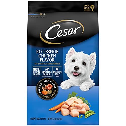 CESAR Small Breed Dry Dog Food Rotisserie Chicken Flavor with Spring Vegetables Garnish Dog Kibble, 5 lb. Bag