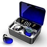 Auriculares Bluetooth, Auriculares Inalámbricos 2000mAh con 100H Playtime, TWS Auriculares Bluetooth 5.0 Deporte IPX7 Impermeable Hi-Fi Estéreo con Caja de Carga y Mic, Pantalla LED y Control Tactil
