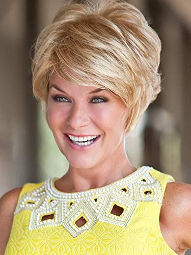 """Vivacious Wig Color Light Blonde Rooted - Toni Brattin Wigs 4"""" Short Pixie Straight Razor Cut Changelite 100% Heat Friendly Synthetic Swirly Fashion Natural Healthy Hair Peluca"""
