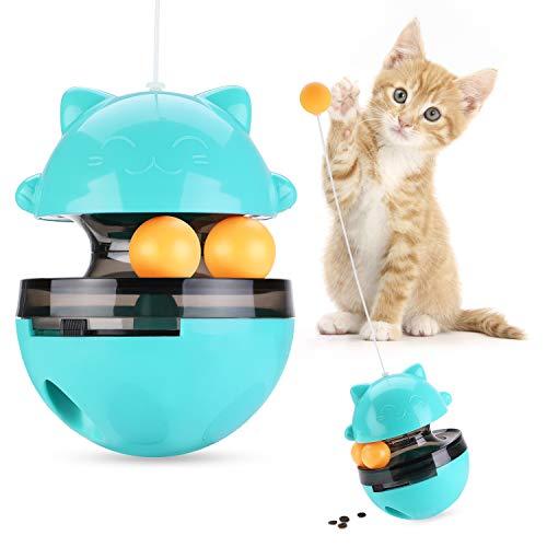 Iokheira Katzenspielzeug, Interaktives Spielzeug für Katzen, Katzen Snackball mit verstellbare Öffnung und Zwei rollenden Bällen