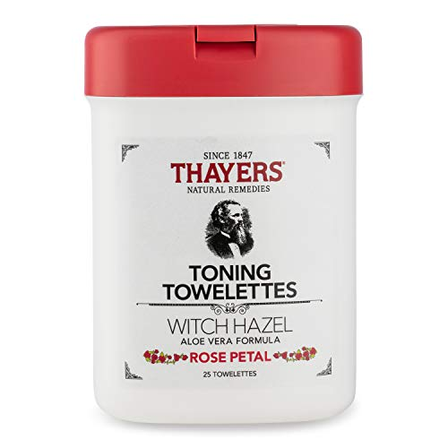 Thayers Alcohol Free Witch hazel Rose Petal TONING TOWELETTES with Aloe Vera, 30Towelettes