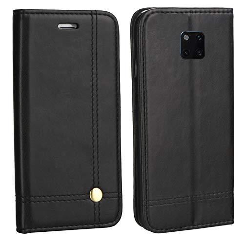 MOELECTRONIX Edle Buch Klapp Tasche SCHWARZ Flip Book Hülle Schutz Hülle Etui passend für Huawei Mate 20 PRO Dual SIM LYA-L29