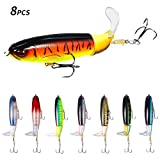 8Pcs Fishing Lure Set Bass with Topwater Floating Rotating Tail Artificial Hard Bait Fishi...