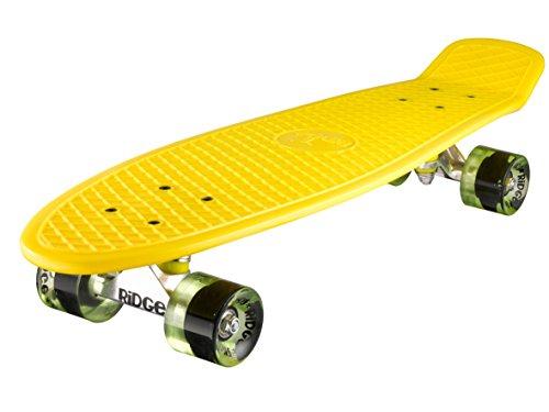 Ridge Skateboard 69 Cm 27 Inch Nickel Cruiser Retro Stil M Rollen Komplett Fertig Montiert, Yellow/Clear Green