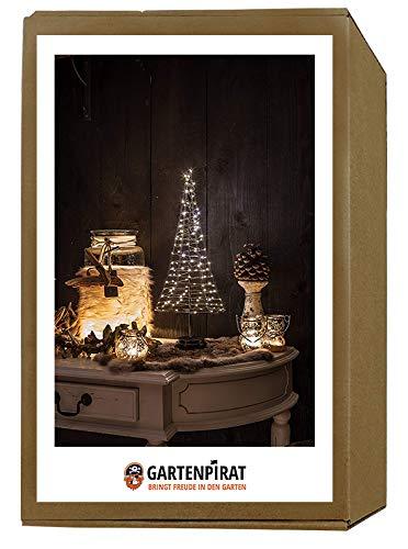 Mini Weihnachtsbaum Pyramide 50 cm aus Metall mit LED Lichterkette Deko beleuchtet