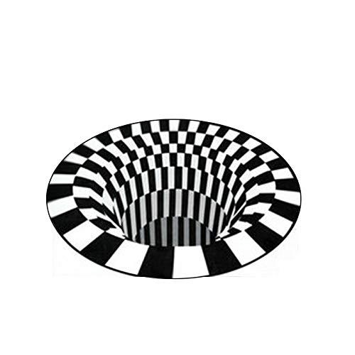 IADZ Felpudo, Alfombra 3D Estera de visión estéreo en Blanco y Negro Tridimensional, Felpudo para Sala de Estar, Mesa de té, sofá, Alfombra de ilusión