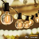 Garlandes lluminoses d'exterior, *WOWDSGN 30 + 3 *pzas G40 cadena de llum de bombeta, funciona amb electricitat, *IP44impermeable, ideal per a decoracions nadalenques, noces, festes, etc