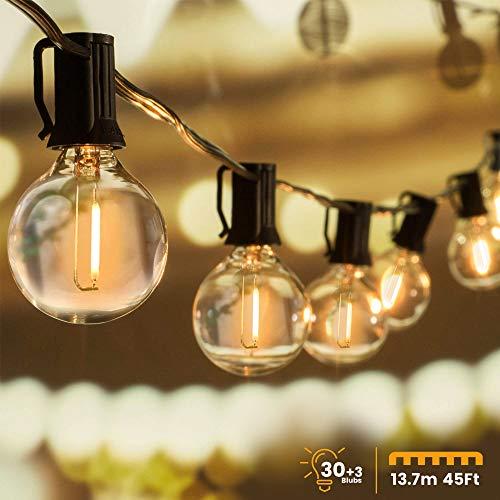 Guirnaldas luminosas de exterior, WOWDSGN 30 + 3 pzas G40 cadena de luz de bombilla, funciona con electricidad, IP44impermeable, ideal para decoraciones navideñas, bodas, fiestas, etc
