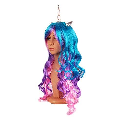 Auntwhale Halloween colorato lungo ricci parrucca arcobaleno unicorno gotico Lolita Race parrucca argento