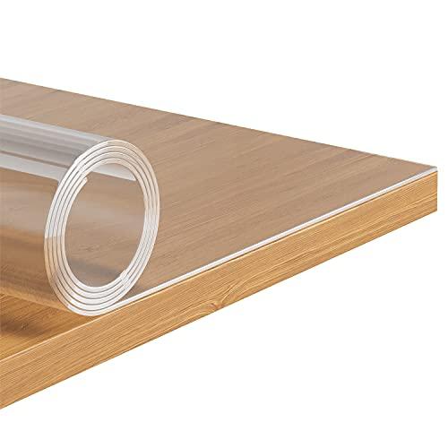Tischfolie PVC Tischdecke Transparent Glasklar 60x120cm Tischschutzfolie 2,0mm Schutzfolie für Lackierten und Glasoberflächen Hochglanz Lebensmittelecht Tischabdeckung für Küche und Büro