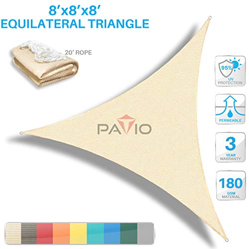 Patio Paradise 8' x8'x 8' Beige Sun Shade Sail Triangle Canopy - Permeable UV Block Fabric Durable Outdoor  - Customized Available
