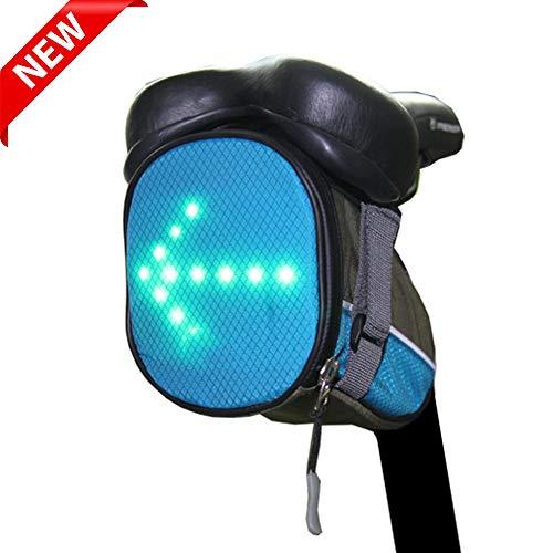 ZYQDRZ Zaino da Ciclismo, Borsa da Sella per Bicicletta, Spia di Controllo dello Sterzo A LED Senza Fili, Ricaricabile, Facile da Pulire, Sicuro sulla Strada di Notte,Blu