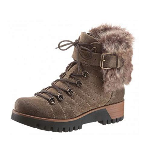 MANAS Damen Schuhe Stiefelette Stiefel Winter Boots Fake Fur Khaki Schuhgröße EUR 40
