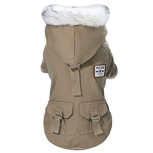 GJFeng hond kleding herfst en winter huisdier kleding Teddy Schnauzer katoen militaire katoenen jas, L, Beige