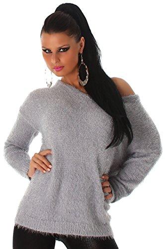 Jela London Damen Pullover weich & flauschig Einheitsgröße (32-38), grau