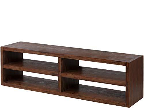 Loft 24 A/S TV Board Regal Lowboard Fernsehtisch ohne Rückwand Akazienholz braun (4 Fächer,160 x 40 x 45 cm)