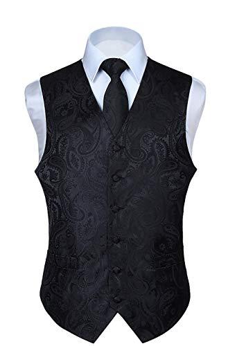 Hisdern Manner Paisley Floral Jacquard Weste & Krawatte und Einstecktuch Weste Anzug Set, Schwarz, Gr.-M (Brust 44 Zoll)