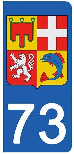 DECO-IDEES 2 Stickers pour Plaque d'immatriculation, 73 Savoie- Stickers Garanti 5 Ans