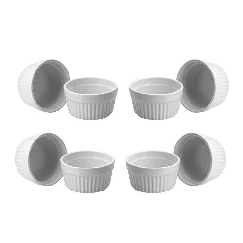 Lot de 12 coupelles/terrines en céramique de 9 cm - Marque ToCi - Pour crème brûlée, soufflé au chocolat, etc Lot de 8 Blanc.