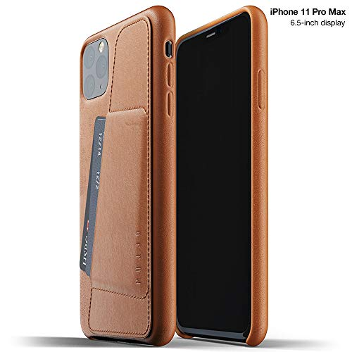 Mujjo Full Leather Wallet Case for Apple iPhone 11 Pro Max | 2-3 Card Holder Pocket | Premium Soft Supple Leather, Unique Natural Aging (Tan)