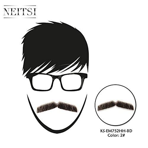 『Neitsi(ネイティス) 付け髭 ひげ 口髭 人毛 ウィッグ 髪製髭 手作り本物 コスプレ用ダンス用髭 1枚』の5枚目の画像