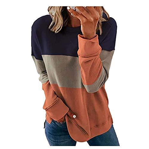 N\P Impresión a rayas suelta camiseta color elegante manga larga bloque oversize Tops Tie Dye ropa