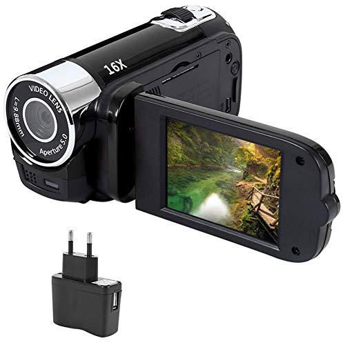 """Videocámara Digital Full HD 1080P con visión Nocturna por Infrarrojos, cámara de Video portátil DV 2.7""""LCD 16X Zoom DVR cámara Digital (Dos baterías Incluidas)"""