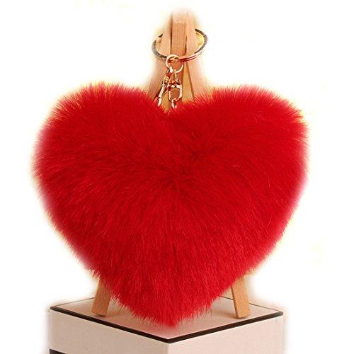 URSFUR Schlüsselanhänger aus kunstfertig Fellbommel Bommel Geburtstagsgeschenk Taschenanhänger Herz Kugel Handyanhänger - rot