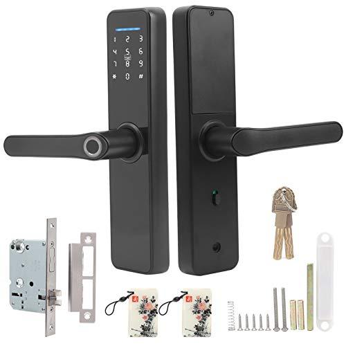 Cerradura de Puerta Electrónica Inteligente Wifi Soporte para Contraseña de Huellas Dactilares Tarjeta IC Desbloqueo de Llaves Mecánicas para Tuya, Contraseña Virtual Diseñada