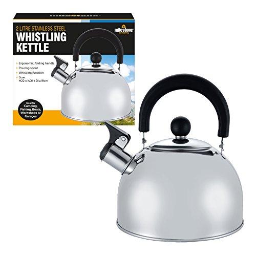 Milestone Camping Unisex-Adult Flötenkessel pfeifender Wasserkocher Teekanne Kaffeekanne drinnen draußen Camping wandern Picknick, Silber-Silber, 22x21x18