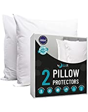 Dreamzie - Pack of 2 Pillow Covers Waterproof with Zipper - White Fabric 100% Cotton Oeko Tex® - Breathable, Hypoallergenic, Dust Mite, Anti-Bacterial