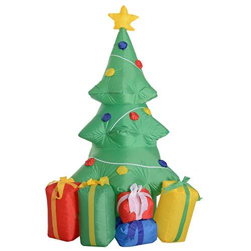 homcom Albero di Natale Gonfiabile Gigante Luminosa Decorazione Natalizia Casa Giardino Altezza 1.5m