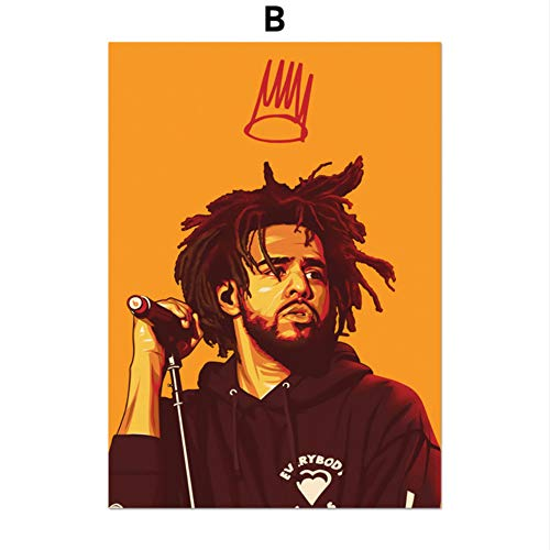 SDFSD Music Pop Singer Hip-Hop Rap Rock 2Pac J Cole Xxxtentacion Rapper Star Wall Art Canvas Painting Nordic Posters and Prints Wall Pictures For Living Room Home Decor B 30 * 40cm