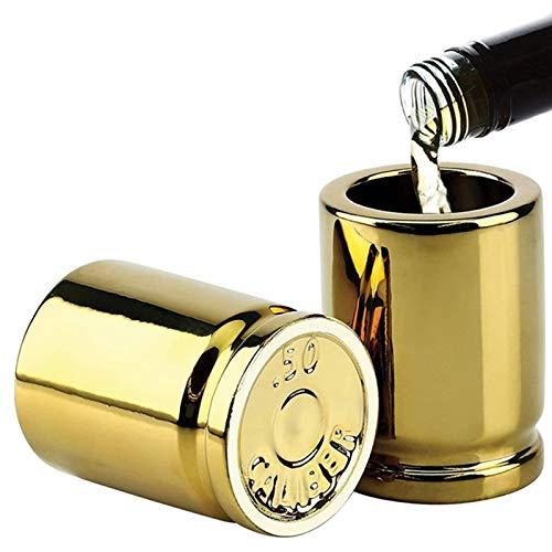 GUANJIAN Bicchierini Calibro,50 Caliber Shot Glass,per Bicchieri da Degustazione per Bevande,Whiskey,Scotch, Bourbon, Brandy,Personalizzato Regalo per Uomini Oro 2pcs A