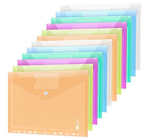 24 Stück Dokumententasche A4, 6 Farben Sichttasche A4 Transparent, Dokumenten Dokumentenmappe Sammelmappen Tasche druckknopf für Organisieren mit 11 Lochrand und Etikettentasche