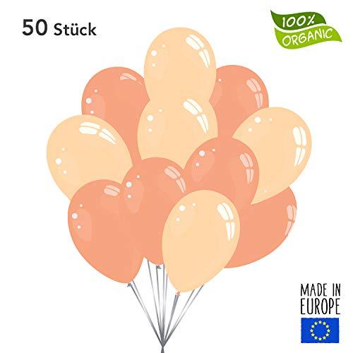 Twist4 50 Premium Luftballons in Rose Gold / Peach Pfirsich - Made in EU - 100% Naturlatex somit 100% giftfrei und 100% biologisch abbaubar - Geburtstag Party Hochzeit - für Helium geeignet