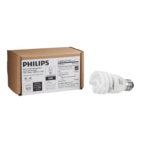 Philips Energy Saver Dusk-to-Dawn Compact Fluorescent Twister A19 Light Bulb: 900-Lumen, 2700-Kelvin, 14-Watt (60-Watt Equivalent), Medium Base CFL, Soft White