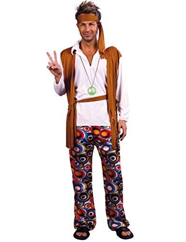 DEGUISE TOI Déguisement Hippie Marron et Blanc Homme - XL
