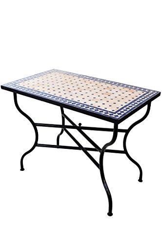 ORIGINAL Marokkanischer Mosaiktisch Gartentisch 100x60cm Groß eckig klappbar | Eckiger klappbarer Mosaik Esstisch Mediterran | als Klapptisch für Balkon oder Garten | Marrakesch Natur Blau 100x60cm