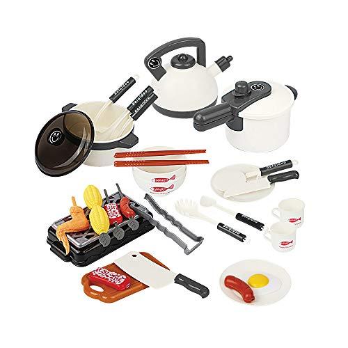 Children's Kitchen speelhuis speelgoed, Small Keukengerei Barbecue Set, geschikt voor jongens en meisjes puzzel Early Education,White