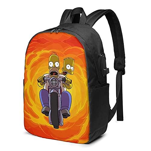 Simpson Bart Homer J.Mochila con carga USB y puerto de auriculares para el trabajo escolar, viajes, niños, niñas, adultos, color negro