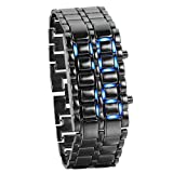 Women's Men's Watches Fashion Novelty Lava Red Blue LED Digital Stainless Steel Black Bracelet Watches (Blue)