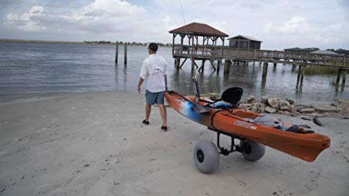 "Wilderness Systems Heavy Duty Kayak Cart | Inflatable Beach Wheels | 330 Lb Weight Rating | for Kayaks and Canoes, Model… 7 Paddling magazine's 2018 winner in the ""best transport/storage/launching' category Engineered to transport the heaviest kayaks - up to 330 pounds Easy to load and unload the kayak – no kickstands or scupper posts required"