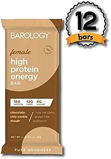 Barology High Protein Energy Bar for Women (Pack of 12) Yummy Chocolate Chip Cookie Dough, Low Sugar, 10g Net Carbs, 16g Protein, 12g Fiber, Gluten Free, Prebiotics, Under 190 Calories, 1.9 oz Bar