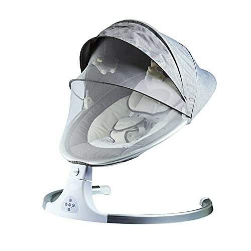 Newborn Baby Bouncer Infant Electric Swing Chair Seat Rocker Crib Musical Cradle Foldable (Gray)