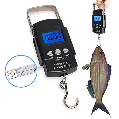 Uticon Digitale Fischwaage, LCD-Digitalwaage für Reisen, Fischgepäck, Post, Hängehaken, elektronische Waage, schwarz