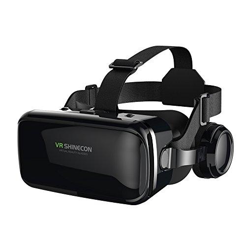 FIYAPOO VR Brille mit Kopfhörern Virtual Reality Headset 3D VR Brille Brille für 3D Filme Videospiele Kompatibel mit 4,7-6,6 Zoll iPhone Android Smartphones