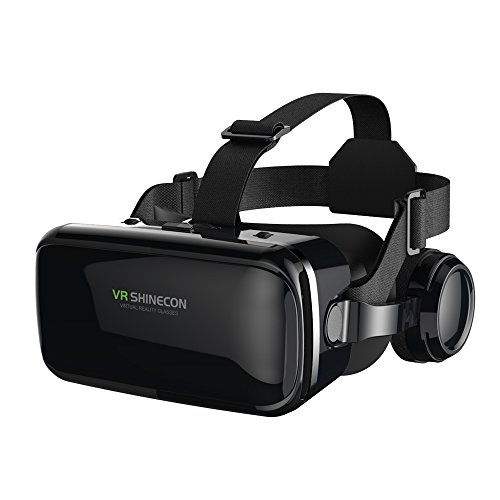 FIYAPOO VR Headset with Headphones Virtual Reality Headset 3D VR Goggles Glasses for 3D Movies Video Games Compatible with 4.7-6.6 Inches iPhone Android Smartphones