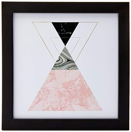 Arte Maníacos Quadro Decorativo Geométrico Triângulos Ampulheta - 20 x 20 cm (Moldura em Laca Preta) , Rosa